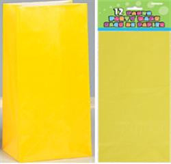 Yellow Paper Loot Bags (12 pack)