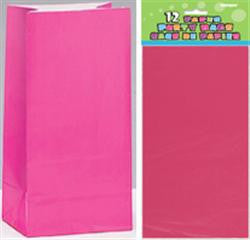Hot Pink Paper Loot Bags (12 pack)