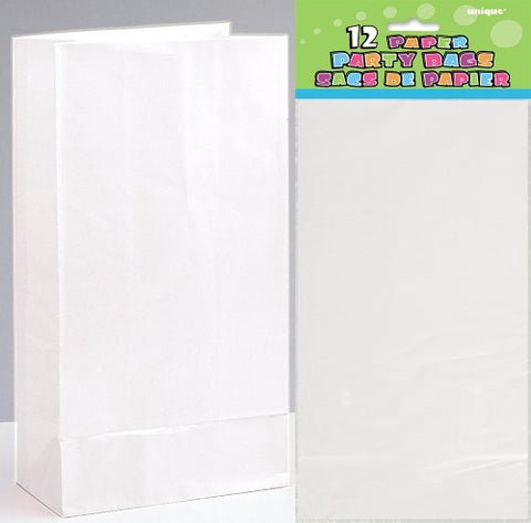 White Paper Loot Bags (12 pack)