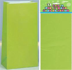 Lime Green Paper Loot Bags (12 pack)