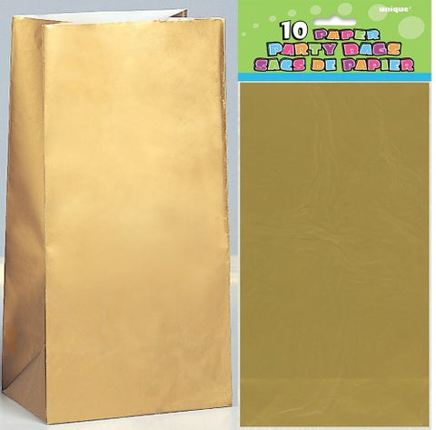 Gold Paper Loot Bags (10 pack)