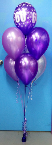 60 Print & 6 Metallic Balloon Arrangement - Stacked