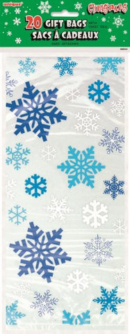Snowflake Blue Cellophane Bags (20 pack)