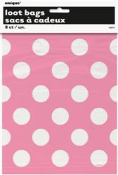 Dots Plastic Loot Bags - 8 pack - Hot Pink