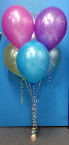 6 Metallic Multi Coloured Balloon Arrangement - Stacked