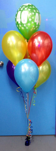 1 Print & 6 Metallic Balloon Arrangement - Stacked
