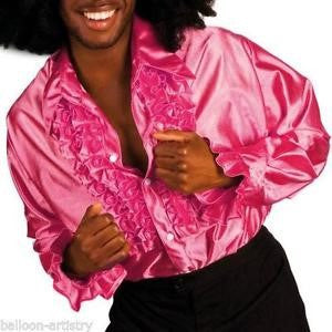 70's Disco Ruffle Shirt - Pink (Hire Only)