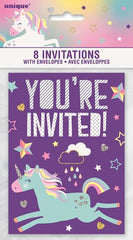 Unicorn Party Invitations - (8 pack)