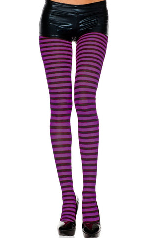 Opaque Striped Tights - Black/Purple