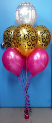18 & 3 Leopard Print Plus 3 Metallic Balloon Arrangement - Stacked