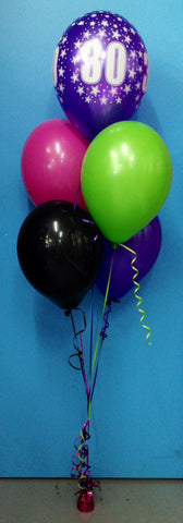 80th Birthday & 4 Standard Balloon Arrangement - Stacked
