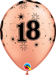 18th Birthday Latex Balloons Rose Gold - (6 pack)