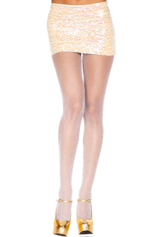 Seamless Fishnet Pantyhose - White