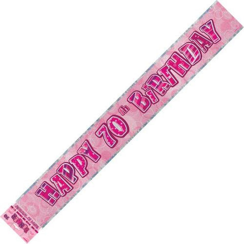 Glitz Pink 70th Birthday Foil Banner (3.6m)