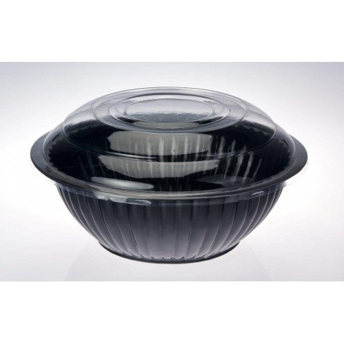 black plastic salad bowl clear lid large party things online party supplies. Black Bedroom Furniture Sets. Home Design Ideas