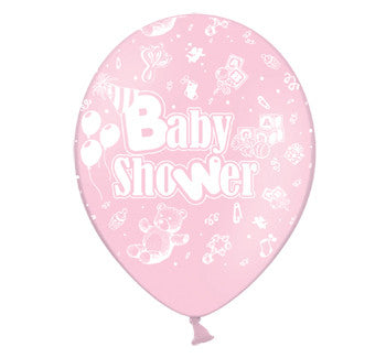 Helium Quality Printed Baby Shower Pink Balloons