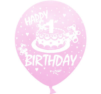 Helium Quality Printed Happy 1st Birthday Pink Balloons