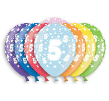 Helium Quality Printed 5 Assorted Colours Balloons