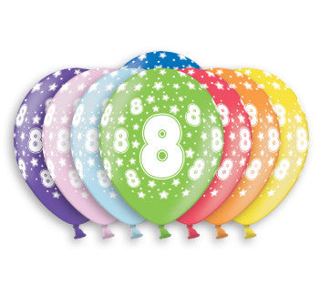 Helium Quality Printed 8 Assorted Colours Balloons