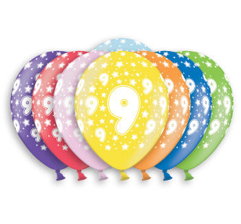 Helium Quality Printed 9 Assorted Colours Balloons