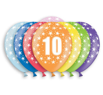 Helium Quality Printed 10 Assorted Colours Balloons