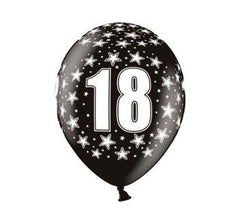 18 Print Balloons - Black (8 pack)