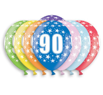 Helium Quality Printed 90 Assorted Colours Balloons