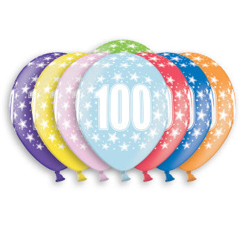 Helium Quality Printed 100 Assorted Colours Balloons