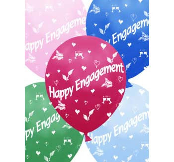 Helium Quality Printed Happy Engagement Assorted Colours Balloons