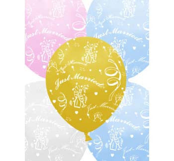 Helium Quality Printed Just Married Assorted Colours Balloons
