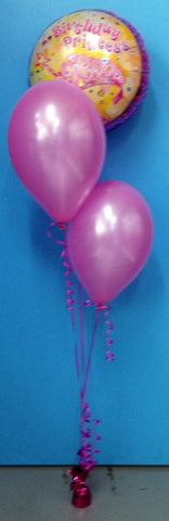 2 Metallic Balloons & Happy Birthday Foil - Staggered