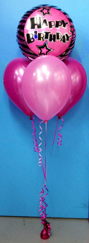 Happy Birthday Foil & 3 Metallic Balloon Arrangement - Stacked