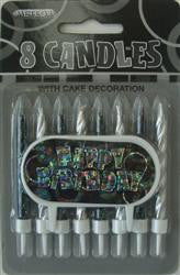 Glitz Black & Silver Candles (8 pack)