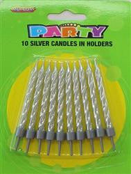 Spiral Metallic Silver Candles (10 pack)