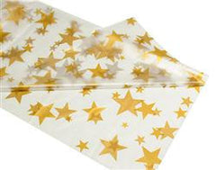 Clear With Gold Stars Plastic Table Roll - (30 m)