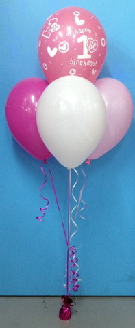 1st Birthday & 3 Standard Balloon Arrangement - Stacked