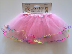 Childrens Tulle Tutu/Skirt - Pink with Rainbow Frill