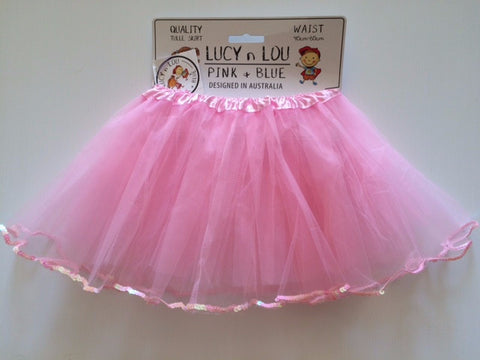 Childrens Tulle Tutu/Skirt - Pink with Sequin Frill