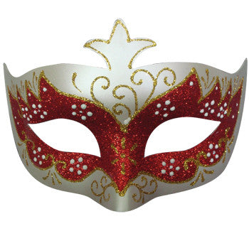 Classic Eye Shape Mask-Red Glitter