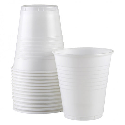 6oz (170ml) White Plastic Cups - (50 pack)
