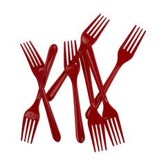 Apple Red Plastic Forks (20 pack)