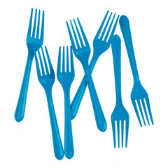 Electric Blue Plastic Forks (20 pack)