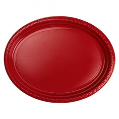 Apple Red Plastic Large Oval Plates (20 Pack)
