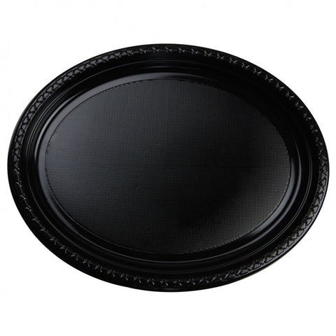 Black Plastic Large Oval Plates (20 Pack)