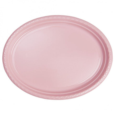Classic Pink Plastic Large Oval Plates (25 Pack)