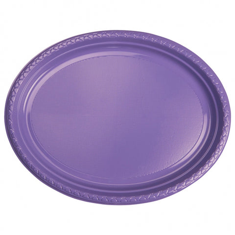 Lilac Plastic Large Oval Plates (20 Pack)