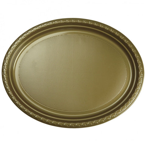 Metallic Gold Plastic Large Oval Plates (20 Pack)