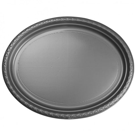 Metalic Silver Plastic Large Oval Plates (20 Pack)