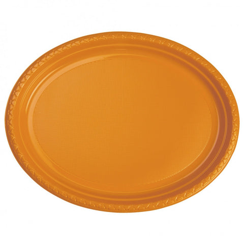 Orange Plastic Large Oval Plates (25 Pack)