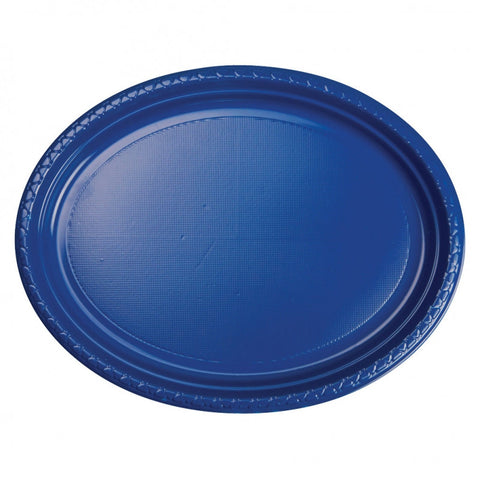 True Blue Plastic Large Oval Plates (25 Pack)